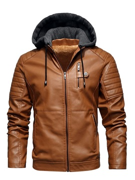 Standard Hooded Color Block Vintage Men's Leather Jacket