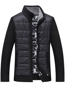 Stand Collar Patchwork Standard Color Block Zipper Men's Down Jacket