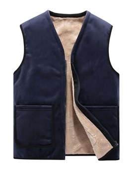 V-Neck Color Block Patchwork Thick Fall Men's Waistcoat