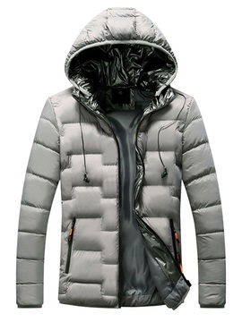 Hooded Standard Plain Casual Men's Down Jacket