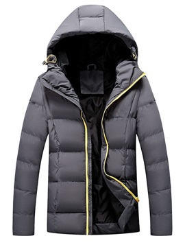 Plain Standard Zipper Hooded Casual Men's Down Jacket