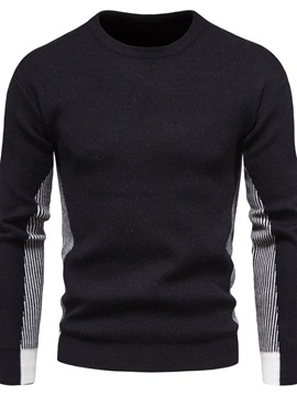 Color Block Round Neck Standard Patchwork Fall Men's Sweater