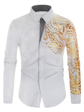 Floral Print Lapel Casual Fall Men's Shirt