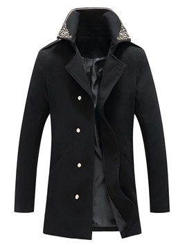 Embroidery Mid-Length Lapel Floral Single-Breasted Men's Coat