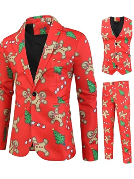 Christmas Casual Print One Button Vest Men's Dress Suit
