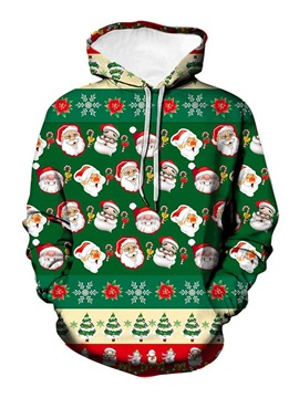 Christmas Cartoon Pullover Print Winter Men's Hoodies
