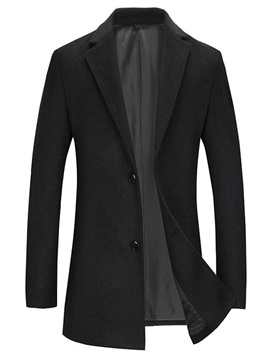 Notched Lapel Mid-Length Plain OL Men's Coat