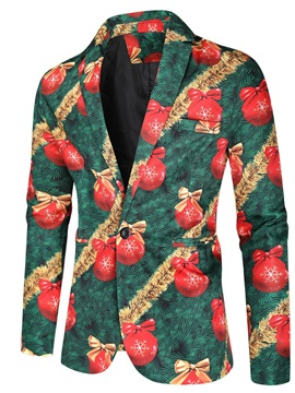 Christmas One Button European Slim Print Men's Leisure  Blazer