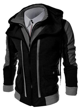 Stand Collar Patchwork Color Block Fall Men's Jacket