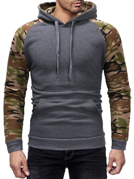 Color Block Print Pullover Winter Men's Hoodies