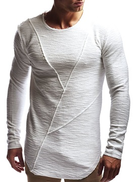 Plain Round Neck Asymmetric Casual Slim Men's T-shirt