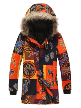 Hooded Color Block Print Mid-Length Single-Breasted Men's Down Jacket