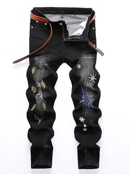 Straight Embroidery Zipper Men's Jeans
