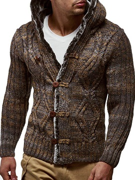 Patchwork Color Block Hooded Standard Single-Breasted Men's Sweater