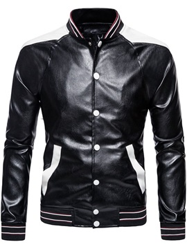Color Block Stand Collar Standard Single-Breasted Men's Leather Jacket