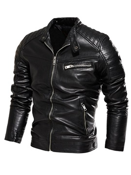 Stand Collar Plain Standard England Men's Leather Jacket