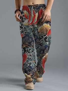 Floral Straight Print Casual Men's Casual Pants