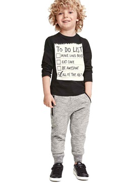 Casual Letter Print Foot Beam Drawstring 2-Pcs Boys' Outfit