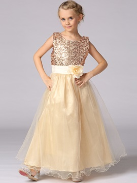 Chic Sequins Lace-Up Girl's Dress