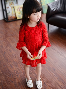 Long Sleeve Flower Lace Girl's Dress