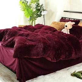 Wannaus Full Size Burgundy Red Super Soft Fluffy Plush 4-Piece Bedding Sets/Duvet Cover