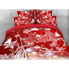 Christmas Reindeer and Snowflake Printed Cotton 3D 4-Piece Red Bedding Sets/Duvet Covers