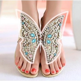 Unique Rhinestone PU Thong Flat Sandals