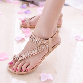 Applique Rhinestone Ankle Strap Thong Sandals