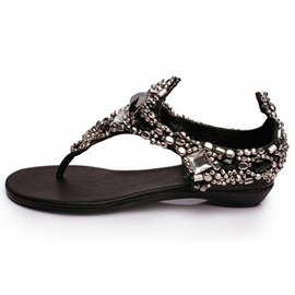 Shining Bohemia with Beads Flat Sandals