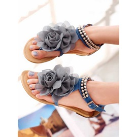Elegant Flower Decorated with Beads Thong PU Sandals