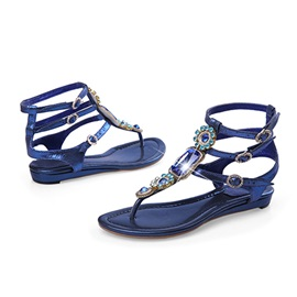 Ethnic Rhinestone Ankle Strips Roman Sandals