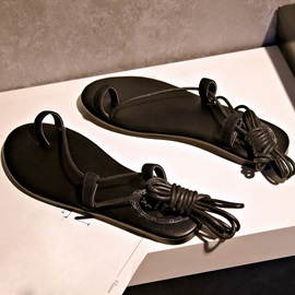 Ring-Toe Lace-Up Women's Flat Sandals