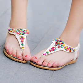 Ethical Beading Thong Flat Sandals
