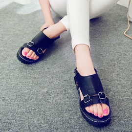 PU Open-Toe Buckles Flat Sandals