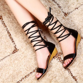 PU Open-Toe Lace-Up Sandals
