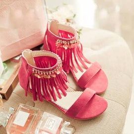 Suede Tassels Covering Heel Flat Sandals