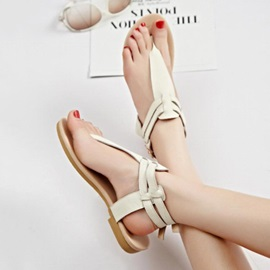 Solid Color PU Thong Flat Sandals