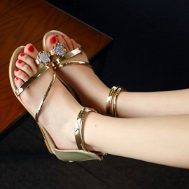Metallic Ring-Toe Covering Heel Roman Sandals
