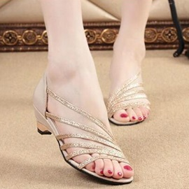 Sequins Covering Heel Slip-On Sandals