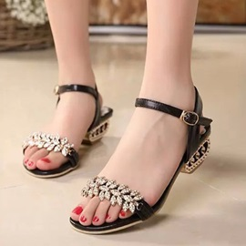 PU Sequins Rhinestone Open-Toe Flat Sandals