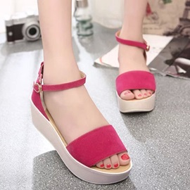 Suede Open-Toe Covering Heel Sandals