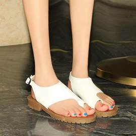 PU Thong Buckles Flat Sandals