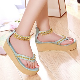 PU Rivets Thong Covering Heel Sandals