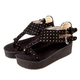 Suede Studded Thong Flat Sandals
