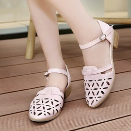 PU Cut-Out Square Heel Sandals