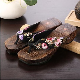 Floral Printed Thong Clogs