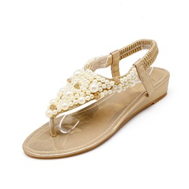 Beading Thong Elastic Band Flat Sandals