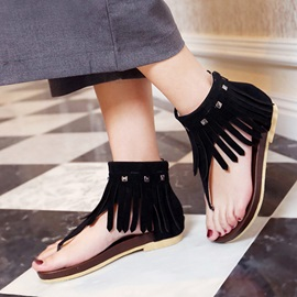 Tassels Rivets Thong Flat Sandals