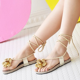 Sequins Crochet Thong Flat Sandals