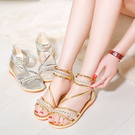 Metallic Rhinestone Open-Toe Flat Sandals